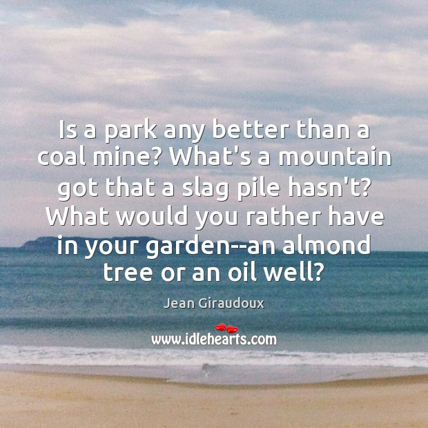 Is a park any better than a coal mine? What's a mountain Jean Giraudoux Picture Quote