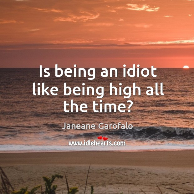Is being an idiot like being high all the time? Image
