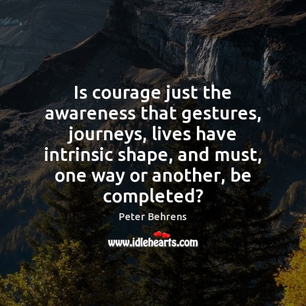 Is courage just the awareness that gestures, journeys, lives have intrinsic shape, Image