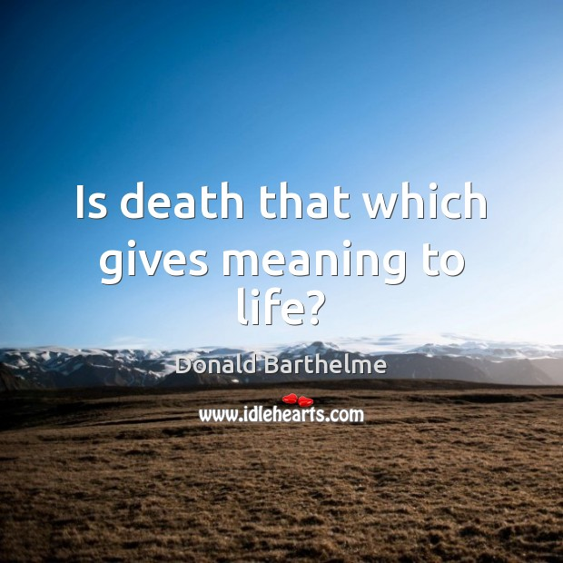 Is death that which gives meaning to life? Donald Barthelme Picture Quote