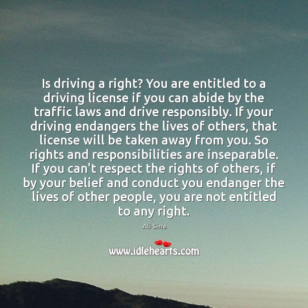Image, Is driving a right? You are entitled to a driving license if