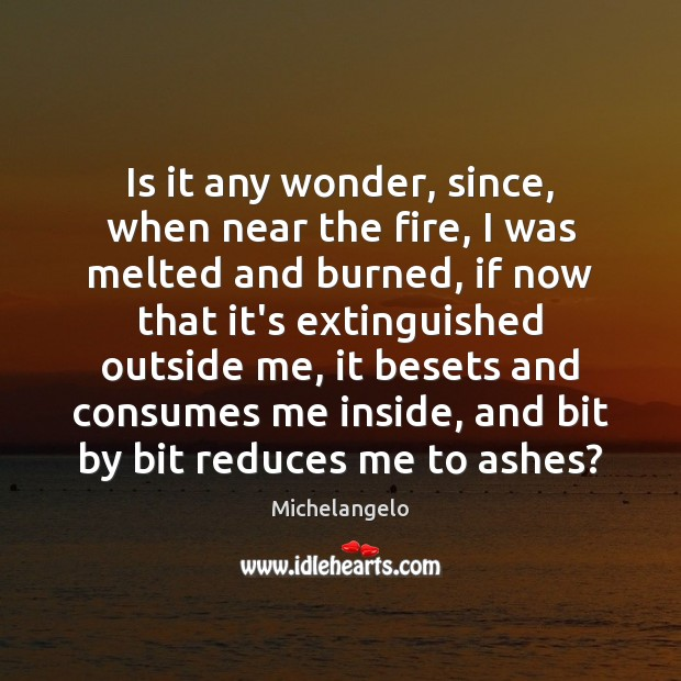Is it any wonder, since, when near the fire, I was melted Michelangelo Picture Quote