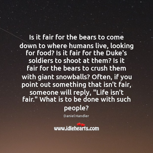Is it fair for the bears to come down to where humans Image