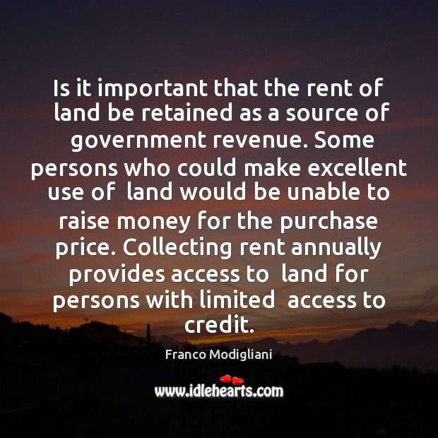 Image, Is it important that the rent of  land be retained as a