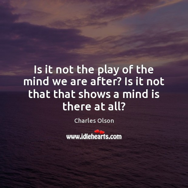 Is it not the play of the mind we are after? Is Image