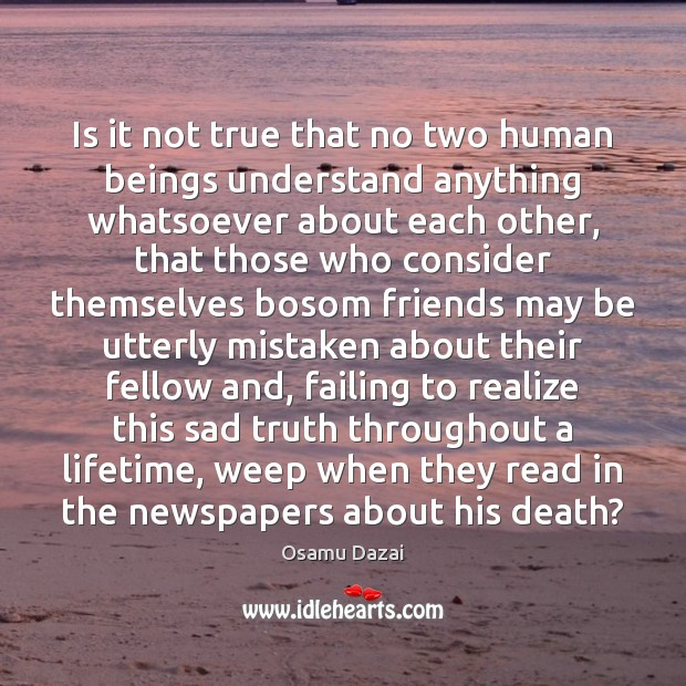 Image, Is it not true that no two human beings understand anything whatsoever