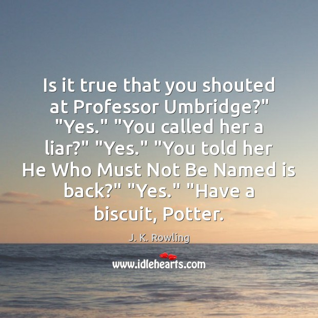 """Image, Is it true that you shouted at Professor Umbridge?"""" """"Yes."""" """"You called"""
