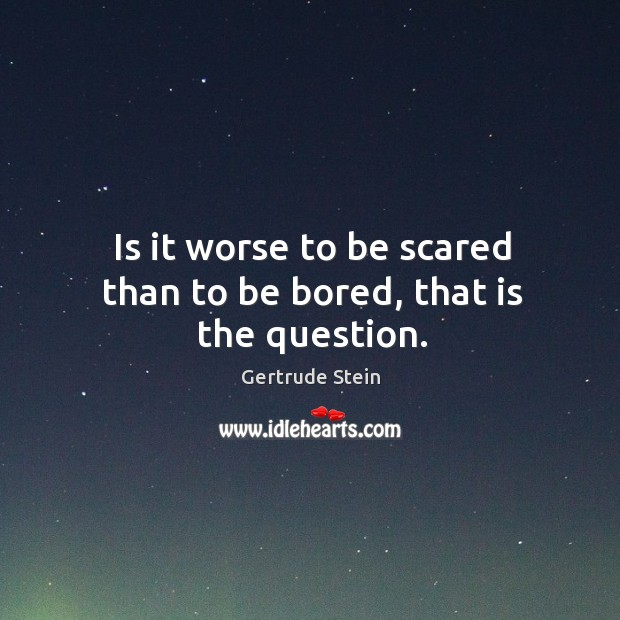 Image, Is it worse to be scared than to be bored, that is the question.