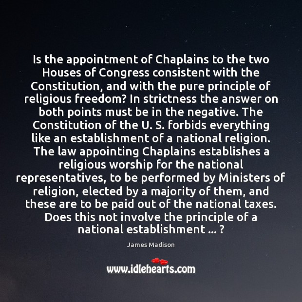 Image, Is the appointment of Chaplains to the two Houses of Congress consistent
