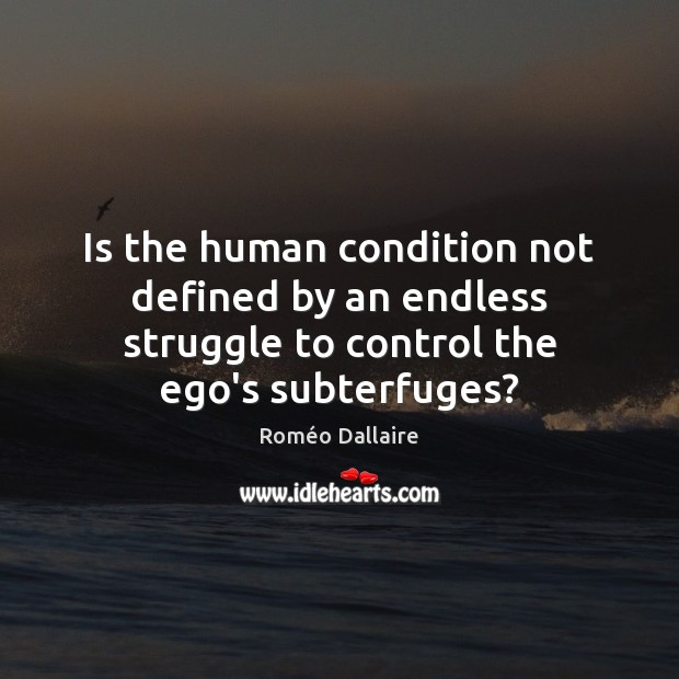 Is the human condition not defined by an endless struggle to control Roméo Dallaire Picture Quote