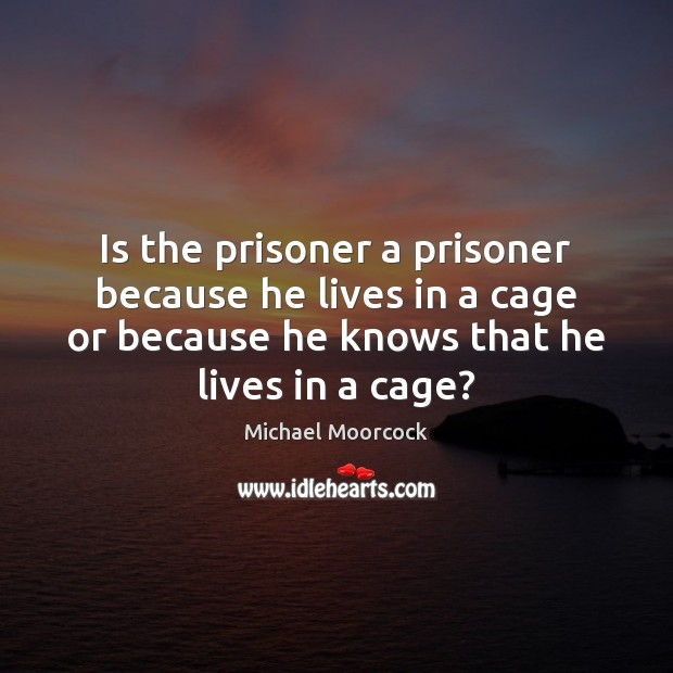 Is the prisoner a prisoner because he lives in a cage or Michael Moorcock Picture Quote