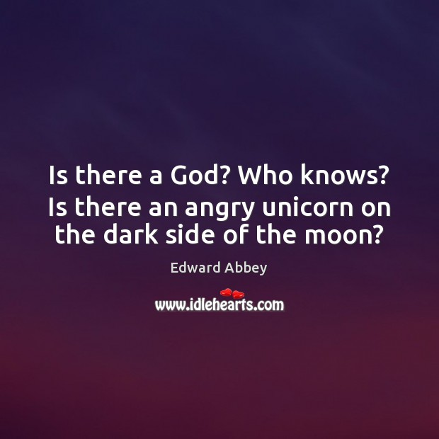 Is there a God? Who knows? Is there an angry unicorn on the dark side of the moon? Image