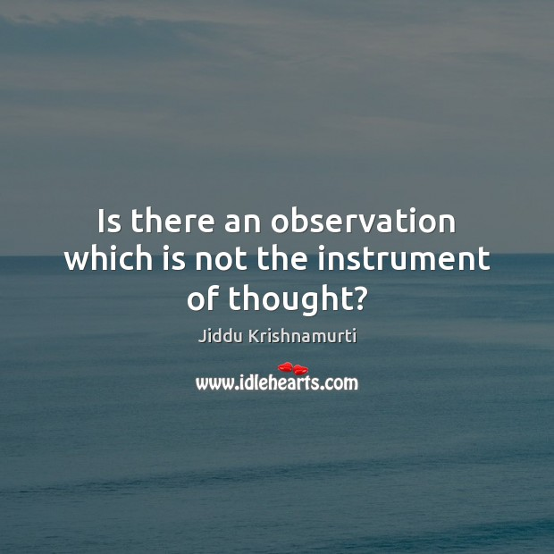 Is there an observation which is not the instrument of thought? Image