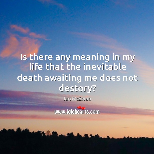 Image, Is there any meaning in my life that the inevitable death awaiting me does not destory?