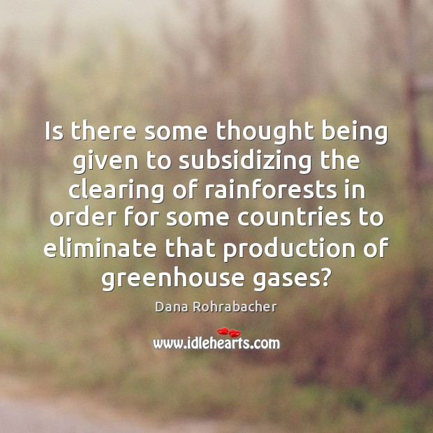 Is there some thought being given to subsidizing the clearing of rainforests Dana Rohrabacher Picture Quote