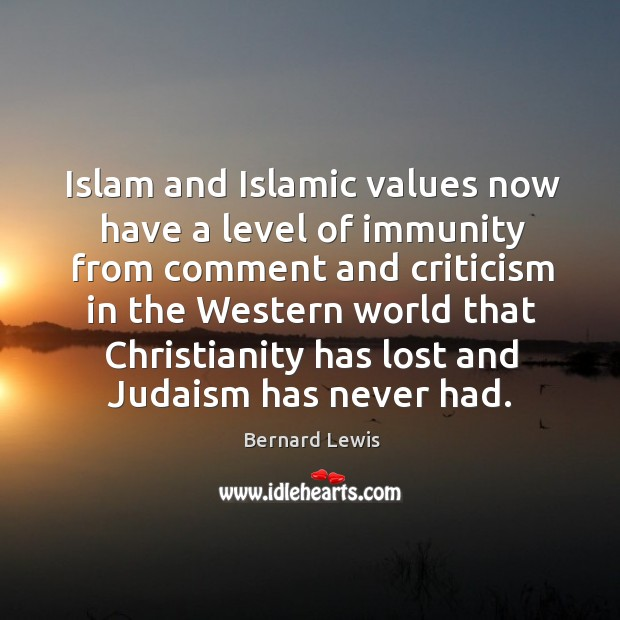 Image, Islam and Islamic values now have a level of immunity from comment
