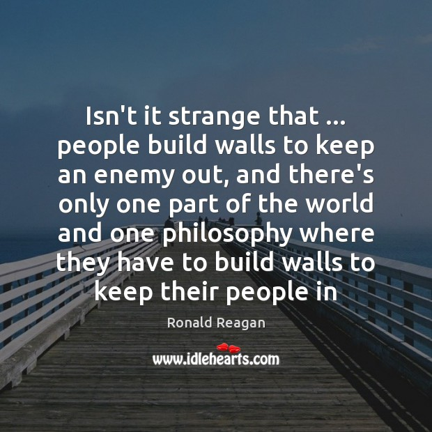 Image, Isn't it strange that … people build walls to keep an enemy out,