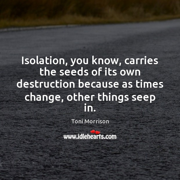 Isolation, you know, carries the seeds of its own destruction because as Toni Morrison Picture Quote