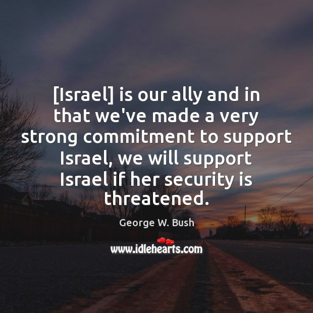Image, [Israel] is our ally and in that we've made a very strong