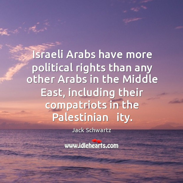 Israeli arabs have more political rights than any other arabs in the middle east Image