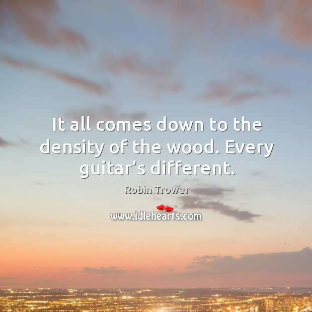 It all comes down to the density of the wood. Every guitar's different. Robin Trower Picture Quote