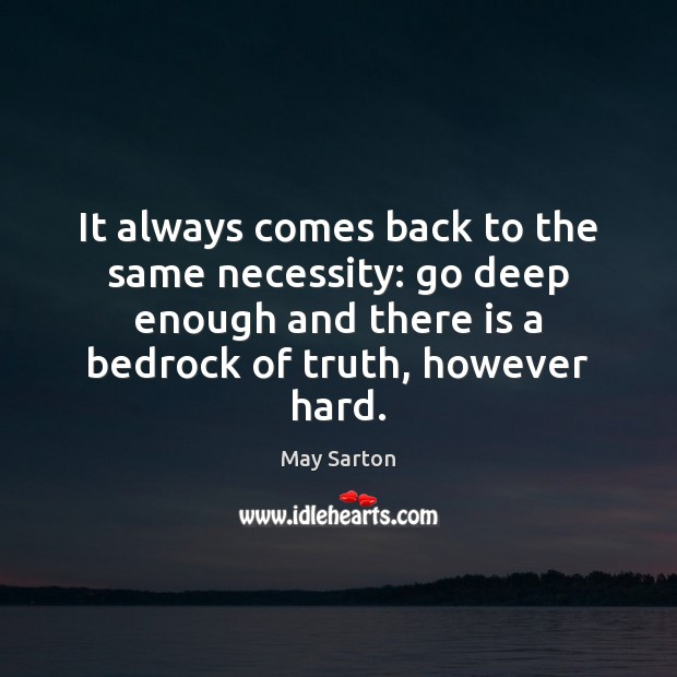 It always comes back to the same necessity: go deep enough and May Sarton Picture Quote