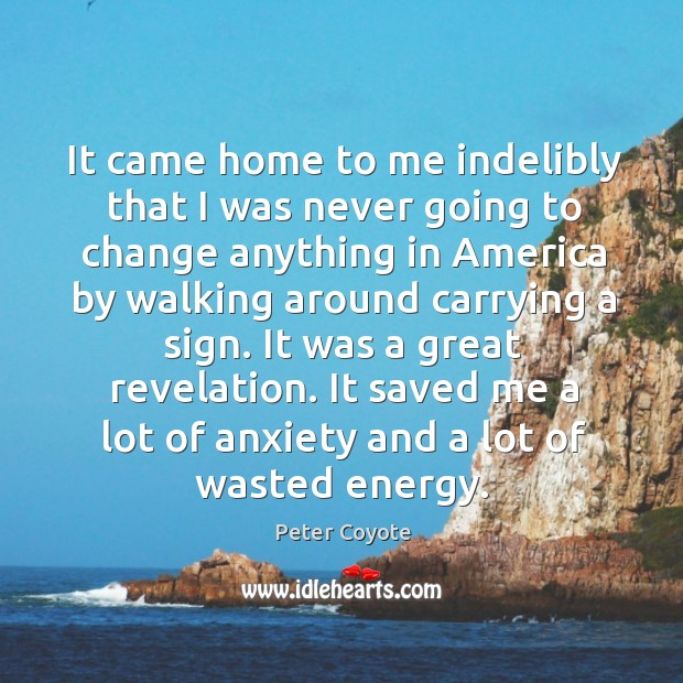 It came home to me indelibly that I was never going to change anything in america by Peter Coyote Picture Quote
