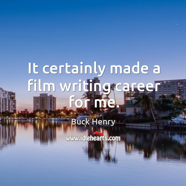 It certainly made a film writing career for me. Image