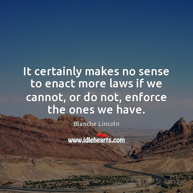 Image, It certainly makes no sense to enact more laws if we cannot,