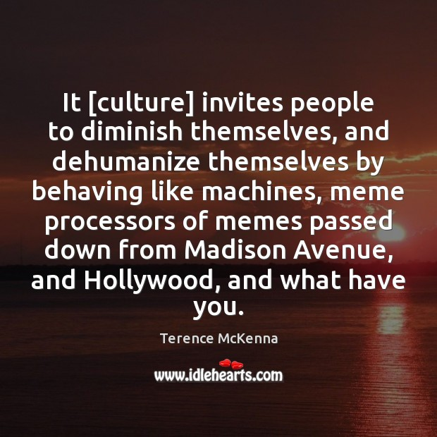It [culture] invites people to diminish themselves, and dehumanize themselves by behaving Image