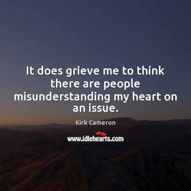 It does grieve me to think there are people misunderstanding my heart on an issue. Image