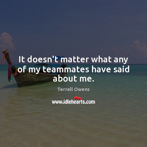 It doesn't matter what any of my teammates have said about me. Terrell Owens Picture Quote