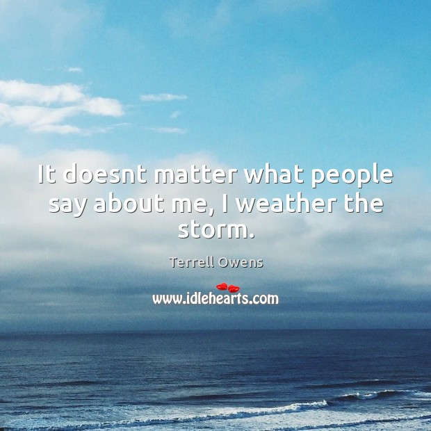 It doesnt matter what people say about me, I weather the storm. Terrell Owens Picture Quote