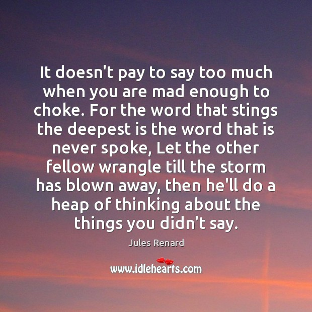 It doesn't pay to say too much when you are mad enough Jules Renard Picture Quote