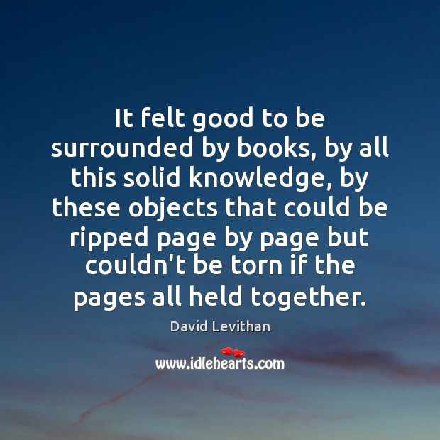 It felt good to be surrounded by books, by all this solid David Levithan Picture Quote