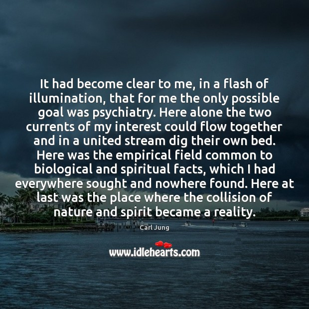It had become clear to me, in a flash of illumination, that Goal Quotes Image