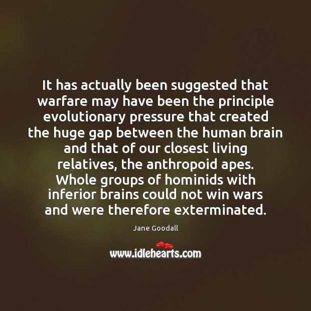 It has actually been suggested that warfare may have been the principle Jane Goodall Picture Quote