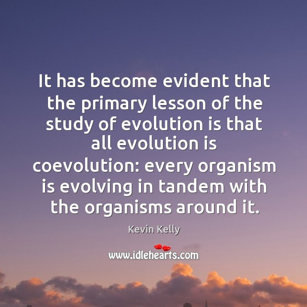 It has become evident that the primary lesson of the study of evolution Kevin Kelly Picture Quote