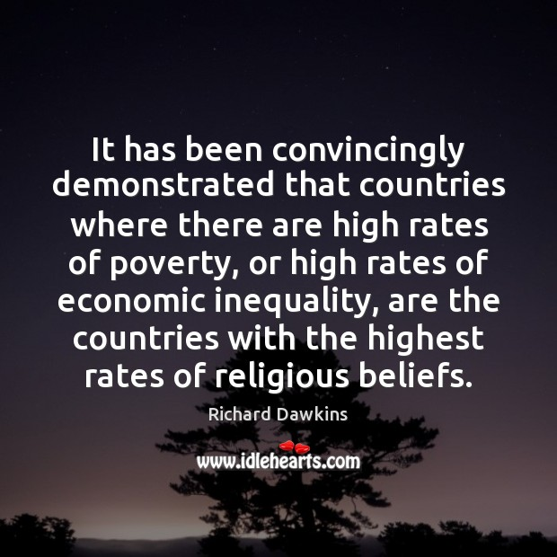 It has been convincingly demonstrated that countries where there are high rates Richard Dawkins Picture Quote