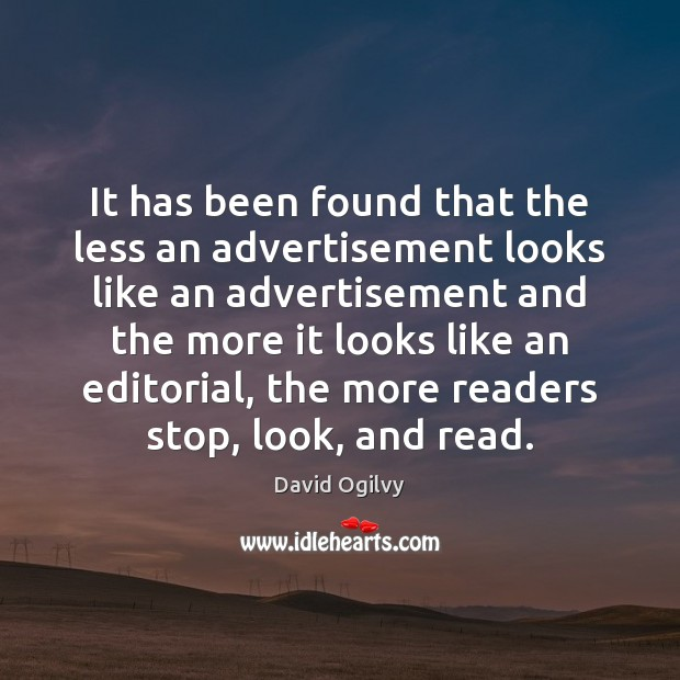 Image, It has been found that the less an advertisement looks like an