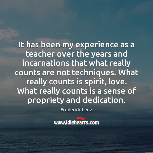 It has been my experience as a teacher over the years and Image