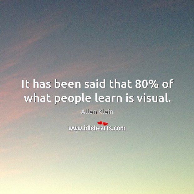 Image, It has been said that 80% of what people learn is visual.