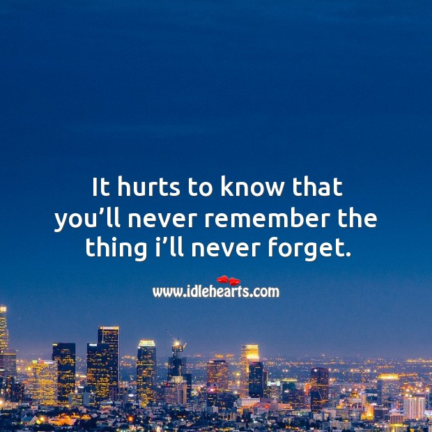 It hurts to know that you'll never remember the thing I'll never forget. Image