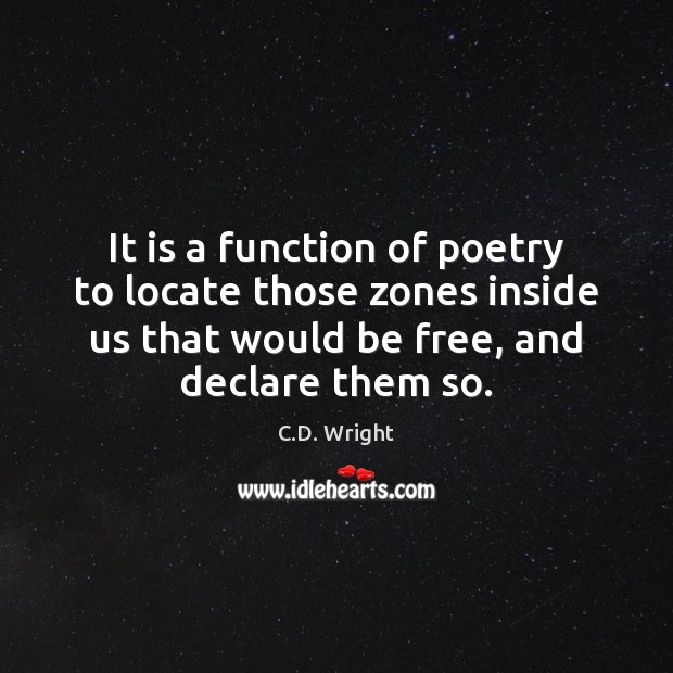 Image, It is a function of poetry to locate those zones inside us