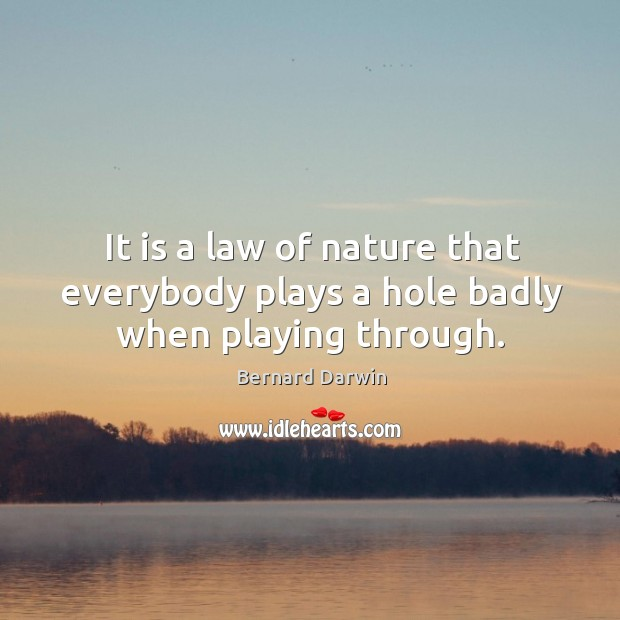 Image, It is a law of nature that everybody plays a hole badly when playing through.