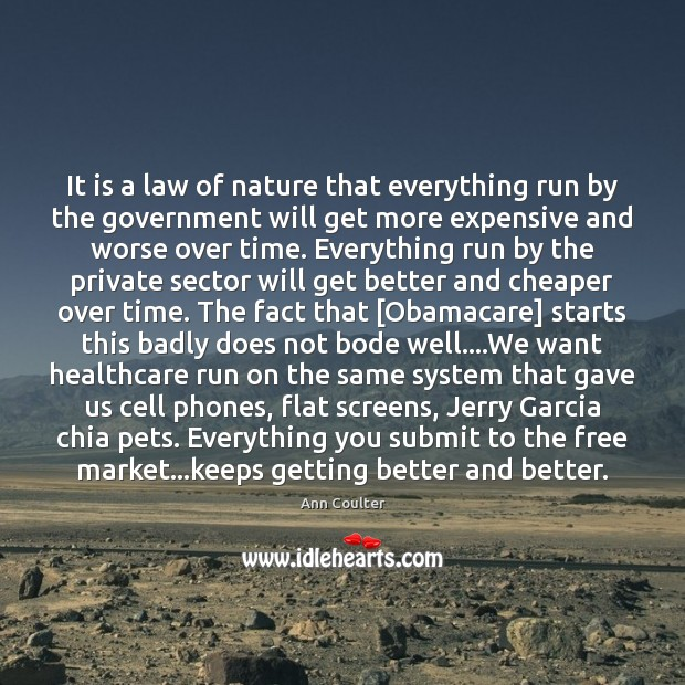 It is a law of nature that everything run by the government Ann Coulter Picture Quote