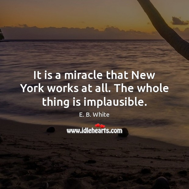 It is a miracle that New York works at all. The whole thing is implausible. E. B. White Picture Quote