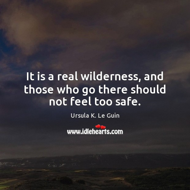 It is a real wilderness, and those who go there should not feel too safe. Ursula K. Le Guin Picture Quote