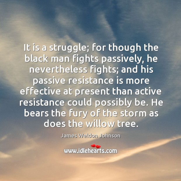 It is a struggle; for though the black man fights passively, he nevertheless fights James Weldon Johnson Picture Quote