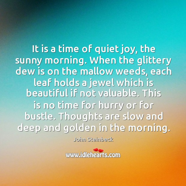 Image, It is a time of quiet joy, the sunny morning. When the